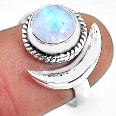 3.32cts natural rainbow moonstone 925 silver moon ring size 7.5 r89639
