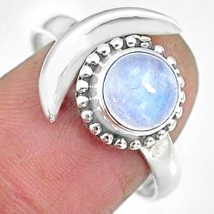 2.37cts natural rainbow moonstone 925 silver moon ring size 9.5 r89696
