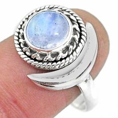 2.83cts natural rainbow moonstone 925 silver moon ring size 9.5 r89753