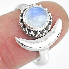 2.54cts natural rainbow moonstone 925 silver moon ring size 9.5 r89796