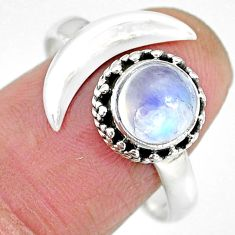 2.54cts natural rainbow moonstone 925 silver moon ring size 9.5 r89812