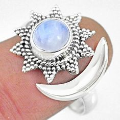 2.65cts natural rainbow moonstone 925 silver moon ring size 9.5 r89837
