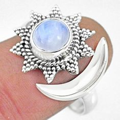 2.96cts natural rainbow moonstone 925 silver moon ring size 9.5 r89839