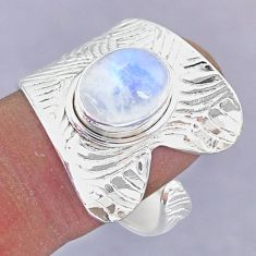 4.37cts natural rainbow moonstone 925 silver adjustable ring size 9.5 r90540