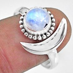 2.53cts natural rainbow moonstone 925 silver moon ring size 10 r89674