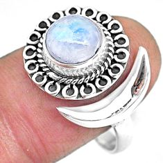2.93cts natural rainbow moonstone 925 silver moon ring size 10 r89737