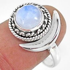 2.95cts natural rainbow moonstone 925 silver moon ring size 10 r89757