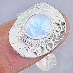 4.45cts natural rainbow moonstone 925 silver adjustable ring size 10 r90660