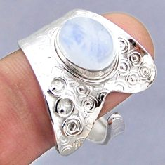 4.43cts natural rainbow moonstone 925 silver adjustable ring size 11 r54760