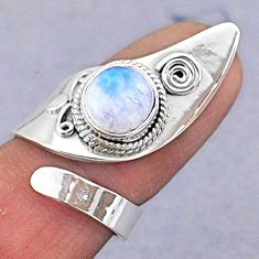 3.20cts natural rainbow moonstone 925 silver adjustable ring size 5 t8577