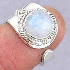 3.29cts natural rainbow moonstone 925 silver adjustable ring size 5 t8597