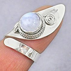 3.01cts natural rainbow moonstone 925 silver adjustable ring size 5 t8612