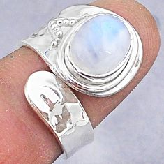 4.06cts natural rainbow moonstone 925 silver adjustable ring size 6 t8569