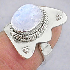 3.80cts natural rainbow moonstone 925 silver adjustable ring size 6 t8602