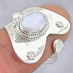 2.21cts natural rainbow moonstone 925 silver adjustable ring size 6 t8603