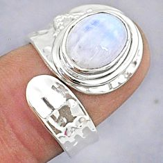 3.76cts natural rainbow moonstone 925 silver adjustable ring size 6 t8605