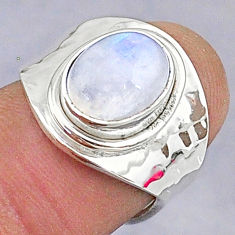 3.83cts natural rainbow moonstone 925 silver adjustable ring size 6 t8619