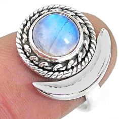 3.26cts natural rainbow moonstone 925 silver moon ring size 7 r89754