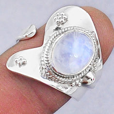 4.10cts natural rainbow moonstone 925 silver adjustable ring size 7 t8565