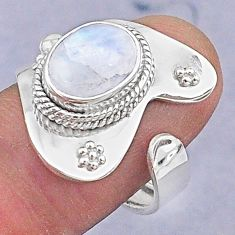 4.06cts natural rainbow moonstone 925 silver adjustable ring size 7 t8574