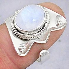 4.28cts natural rainbow moonstone 925 silver adjustable ring size 7 t8606