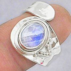 2.86cts natural rainbow moonstone 925 silver adjustable ring size 7 t8613