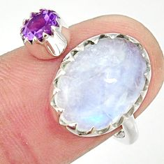 6.85cts natural rainbow moonstone 925 silver adjustable ring size 8 r33353