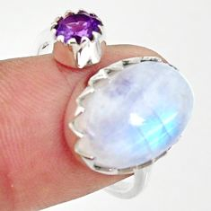 7.63cts natural rainbow moonstone 925 silver adjustable ring size 8 r33355