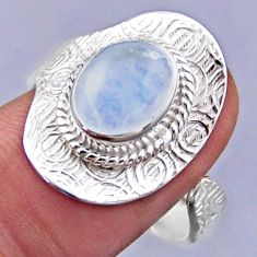 4.31cts natural rainbow moonstone 925 silver adjustable ring size 8 r54720