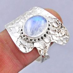 4.40cts natural rainbow moonstone 925 silver adjustable ring size 8 r54839