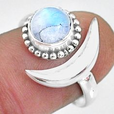 2.44cts natural rainbow moonstone 925 silver moon ring size 8 r89675
