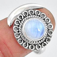 2.79cts natural rainbow moonstone 925 silver moon ring size 8 r89714