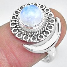2.91cts natural rainbow moonstone 925 silver moon ring size 8 r89738