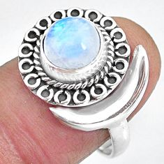 2.86cts natural rainbow moonstone 925 silver moon ring size 8 r89739