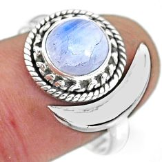 2.83cts natural rainbow moonstone 925 silver moon ring size 8 r89756