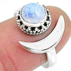 2.53cts natural rainbow moonstone 925 silver moon ring size 8 r89798
