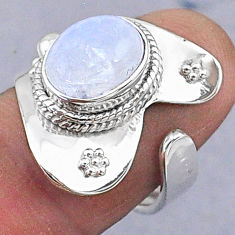 4.30cts natural rainbow moonstone 925 silver adjustable ring size 8 t8579