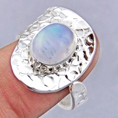 4.28cts natural rainbow moonstone 925 silver adjustable ring size 9 r54780