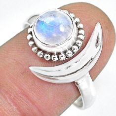 2.44cts natural rainbow moonstone 925 silver moon ring size 9 r89676