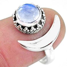 2.51cts natural rainbow moonstone 925 silver moon ring size 9 r89799