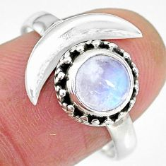 2.39cts natural rainbow moonstone 925 silver moon ring size 9 r89813
