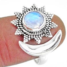 2.65cts natural rainbow moonstone 925 silver moon ring size 9 r89854