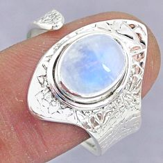 4.26cts natural rainbow moonstone 925 silver adjustable ring size 9 r90539