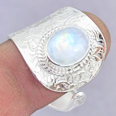 4.31cts natural rainbow moonstone 925 silver adjustable ring size 9 r90560