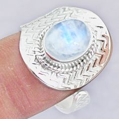 4.11cts natural rainbow moonstone 925 silver adjustable ring size 9 r90680