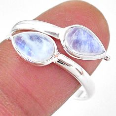 4.77cts natural rainbow moonstone 925 silver adjustable ring size 9 t1679