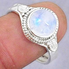 3.30cts natural rainbow moonstone 925 silver adjustable ring size 9 t8584