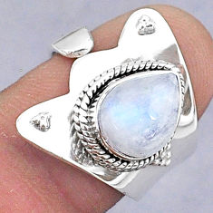 3.98cts natural rainbow moonstone 925 silver adjustable ring size 6.5 t8563