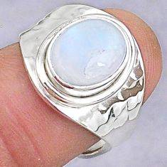 3.98cts natural rainbow moonstone 925 silver adjustable ring size 6.5 t8589