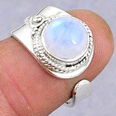 3.32cts natural rainbow moonstone 925 silver adjustable ring size 6.5 t8600